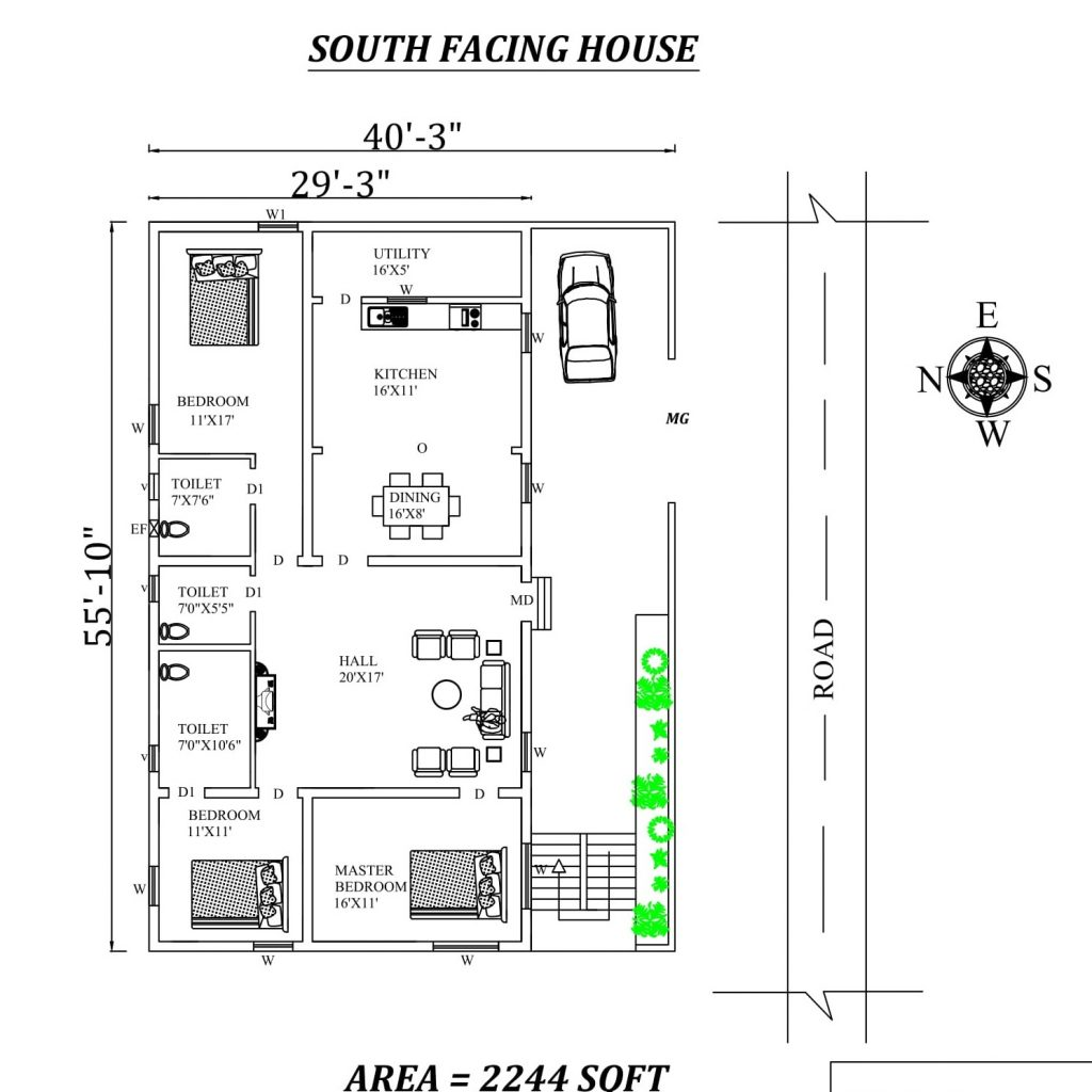South Facing House Plan