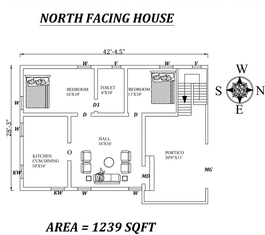 "42'5""X 28'3"" Amazing North facing 2bhk house plan"