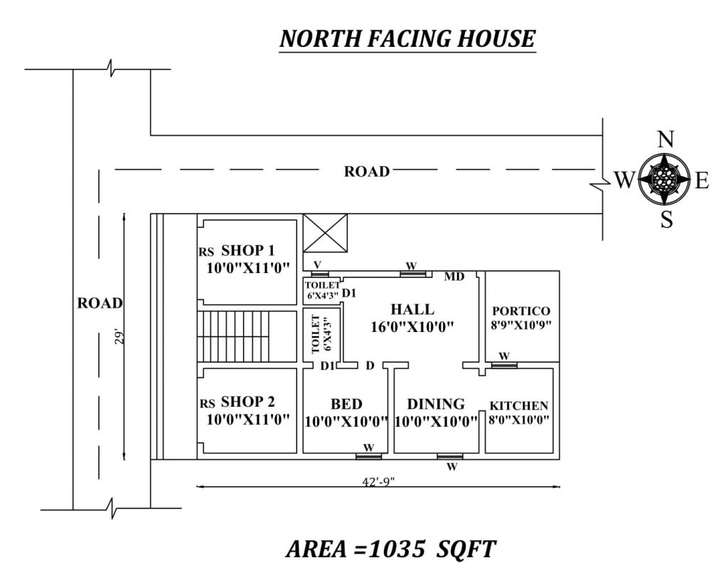 "42'9"" X 29' Single BHK North facing House Plan"