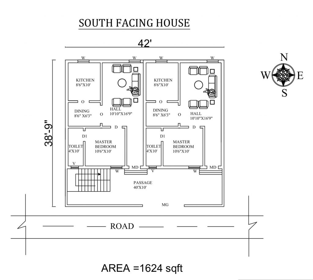 "42'x 38'9"" south facing single bhk dual house plan"