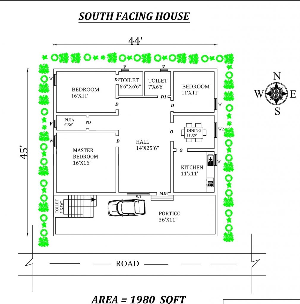 44'X45' 3bhk South facing House Plan