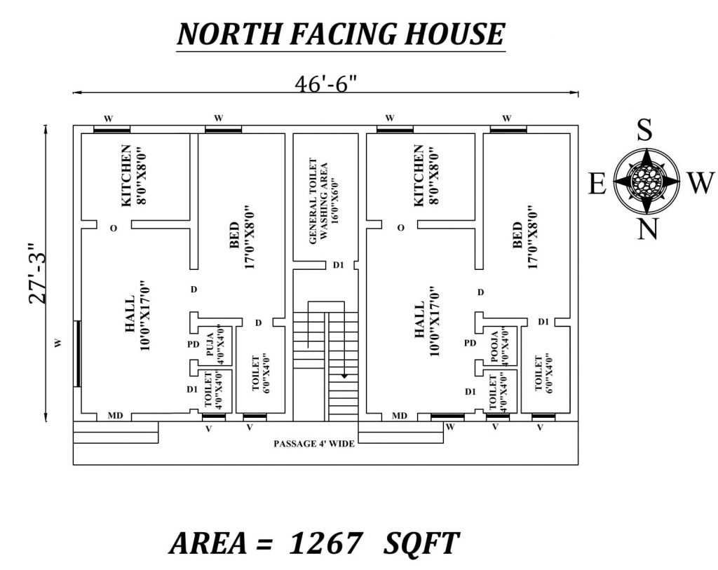 "46'6"" X 27'3"" Single bhk north-facing Dual House Plan"