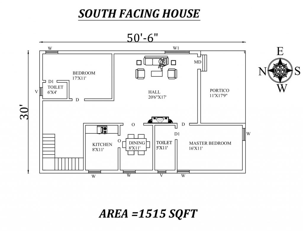 "50'6""x30' Awesome 2BHK South Facing House Plan"