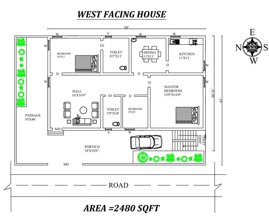 West Facing House Plan
