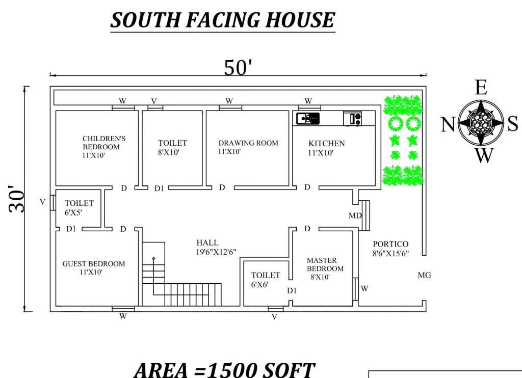 50'x30' Beautiful South Facing 3BHK Houseplan