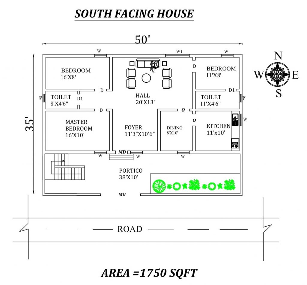 50'x35' South facing 3BHK House plan