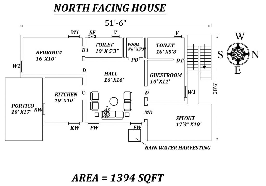 "51'6""X 28'6"" Amazing North facing 2bhk house plan"