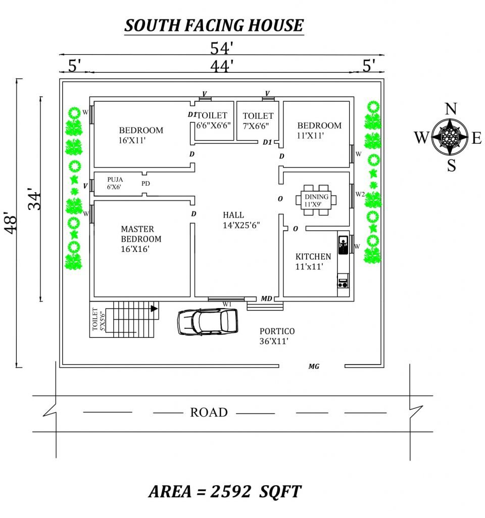 54'X48' 3bhk South facing House Plan