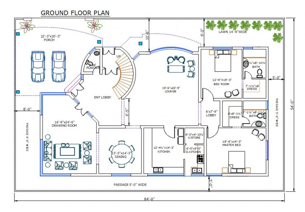 54' X 84' Floor Plan And Furniture Drawing