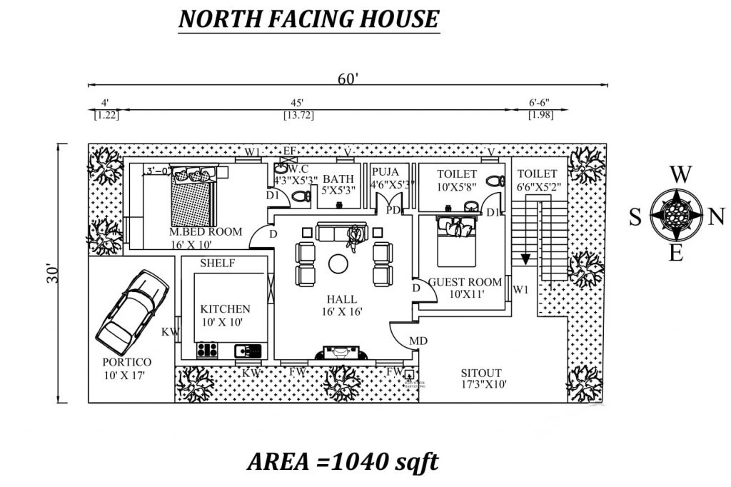 60'X30' Awesome Fully Furnished 2bhk north-facing House Plan