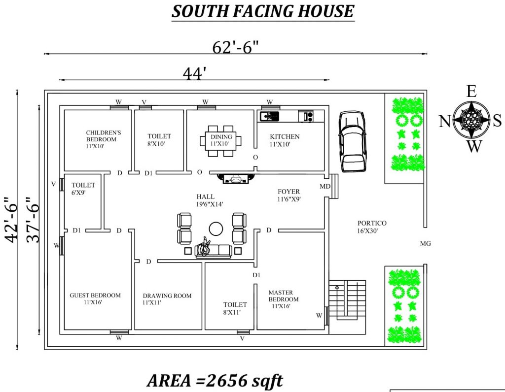 "62'6"" X42'6"" 3bhk South facing House Plan"