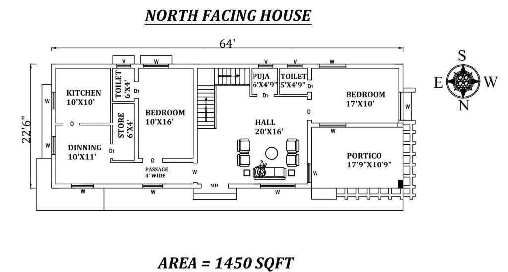 "64'X22'6"" Amazing North facing 2bhk house plan"