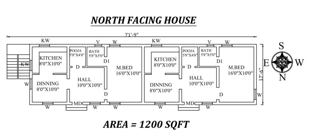 "71'9"" X 17'6"" Single BHK North facing twin House Plan"
