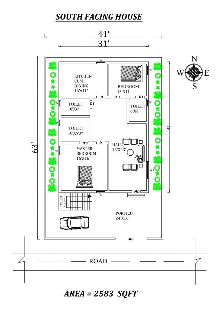 Autocad Drawing of 41'x63' awesome south-facing 2BHK house plan