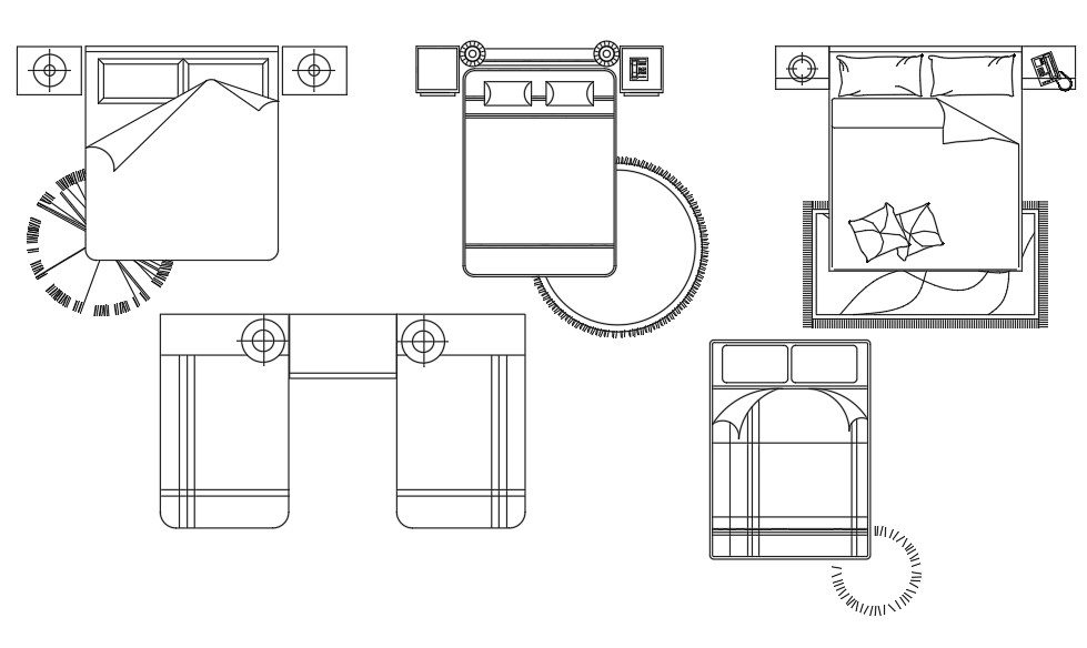 Top view of bed block DWG drawing