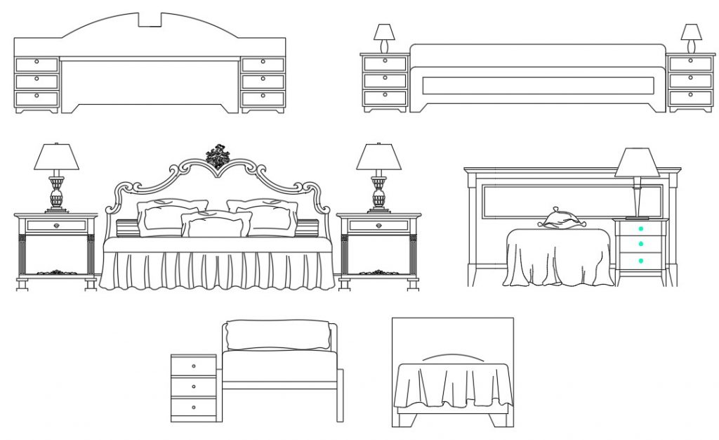 Front view of bed block drawing