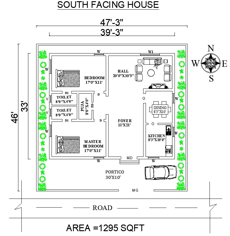 47'X46' South Facing House Plan Drawing