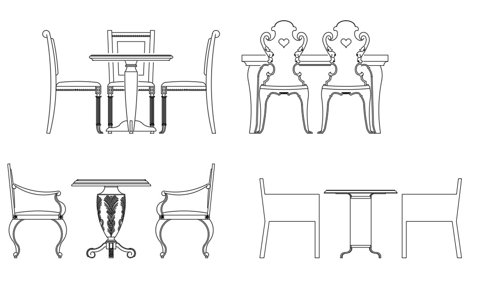 Wonderful Square Dining Table block drawing