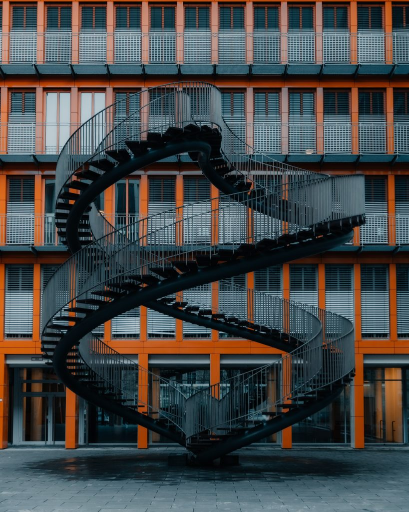 Black metal amazing spiral staircase
