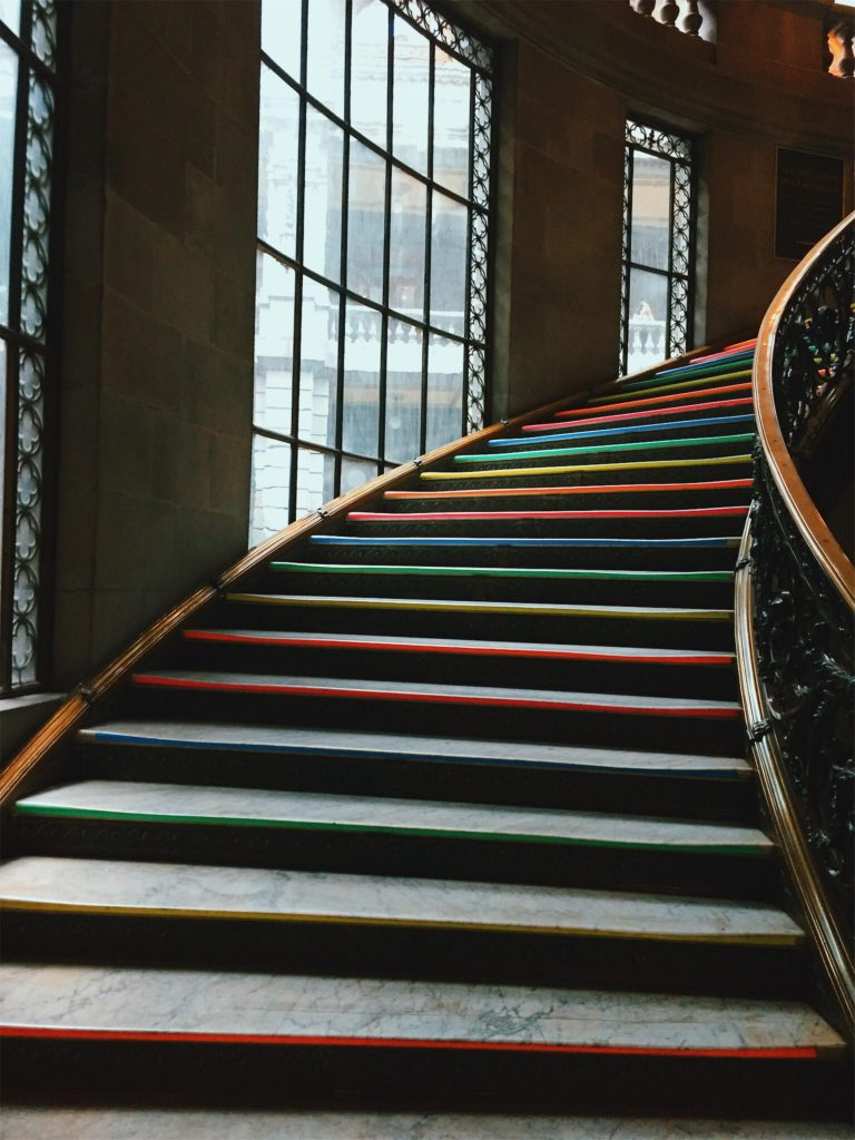 Multi colored stairs