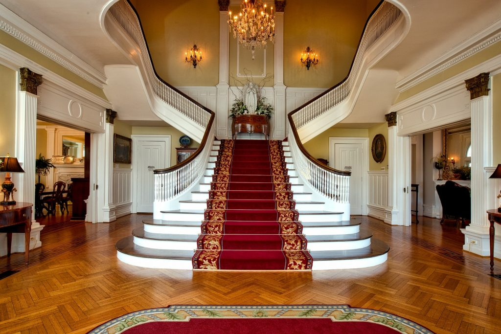 beautiful red and brown staircase