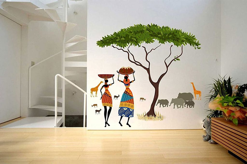 Artistic Tribal Ladies With Animals Nature- Decals Design Wall Sticker