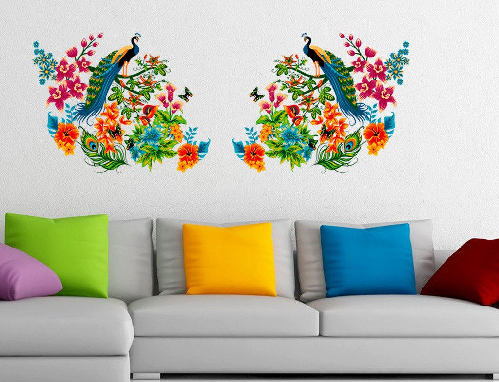 Decals Design 'Peacock Birds on Branch Leaves'